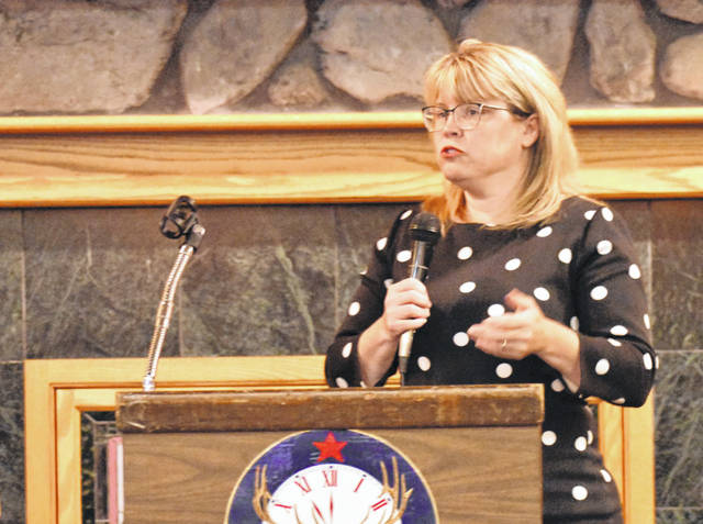 Allen County Common Pleas Court Judge Terri Kohlrieser was the guest speaker Wednesday at the weekly meeting of the Lima Noon Optimist Club. Kohlrieser talked about children who are forced, through no part of their own, to become embroiled in the judicial system.
