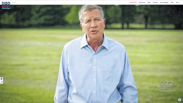 In this screenshot from the DNCC's livestream of the 2020 Democratic National Convention, Republican, Former Ohio Governor John Kasich addresses the virtual convention on Aug. 17, 2020. (DNCC/Getty Images/TNS)
