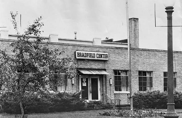 This photo of Bradfield Center is dated 1962. An information packet dated 1963 states its baseball team with 15 members placed second in the Metro League. There were 27 participants on two other baseball teams. That year, there were 542 people enrolled in physical education at the center, which ranged from cheerleading to boxing to swimming classes at its pool. The center also offered a wide range of social clubs.