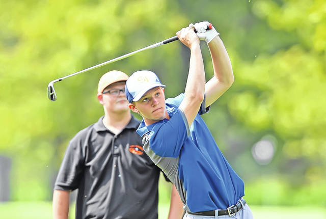 Delphos St. John's Jack Gerker, hitting a a tee shot from the 15th hole, took medalist honors with a 71 at the Tee - Off Classic at Delphos Country Club Monday.