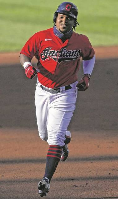 The Indians' Jose Ramirez runs the bases after hitting a home run during the first inning of Thursday night's game against Cincinnati in Cleveland.