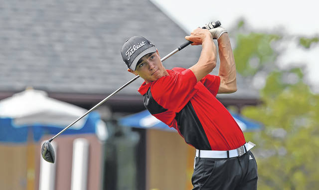 Shawnee's Justin Altenbach watches his tee shot on the 10th hole during Wednesday's Kalida Wildcat Invitational at Moose Landing in Ottawa.
