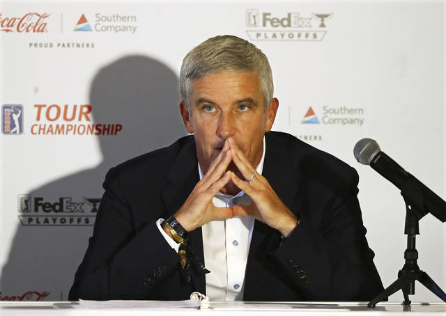 PGA Tour commissioner Jay Monahan takes questions during a live press conference ahead of the Tour Championship golf tournament at East Lake Golf Club in Atlanta, Wednesday, Sept. 2, 2020.  (Curtis Compton/Atlanta Journal-Constitution via AP)