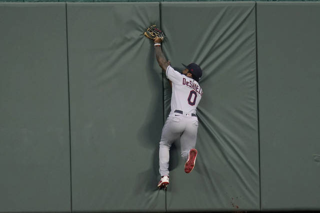 Cleveland Indians center fielder Delino DeShields catches a fly ball hit by Kansas City Royals' Maikel Franco during the second inning of a baseball game at Kauffman Stadium in Kansas City, Mo., Wednesday, Sept. 2, 2020. (AP Photo/Orlin Wagner)