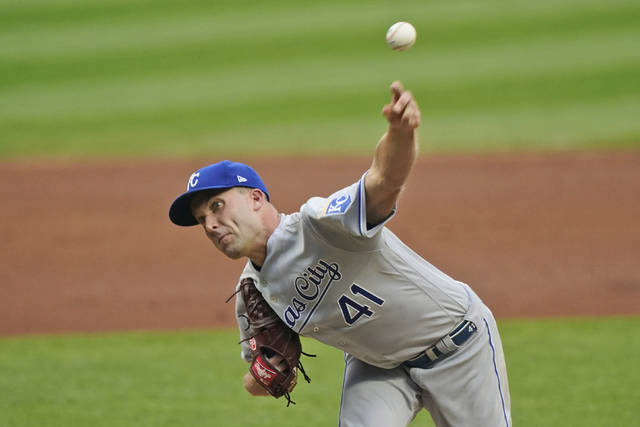 Kansas City Royals starting pitcher Danny Duffy delivers in the second inning of the team's baseball game against the Cleveland Indians, Wednesday, Sept. 9, 2020, in Cleveland. (AP Photo/Tony Dejak)