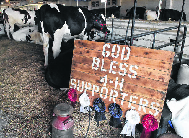 A sign in the dairy beef barn thanks 4-H supporters at the Allen County Fair. The fair announced it lost $48,480 despite a $50,000 grant from the state to have a Junior Fair-only event.