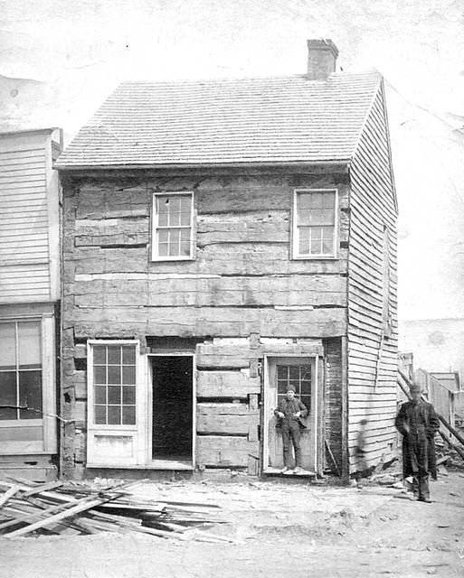 This was the first courthouse in Allen County, as it was photographed in the 1880s.