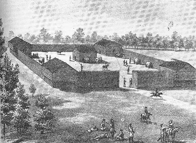This illustration shows Fort Amanda in use as a supply post.