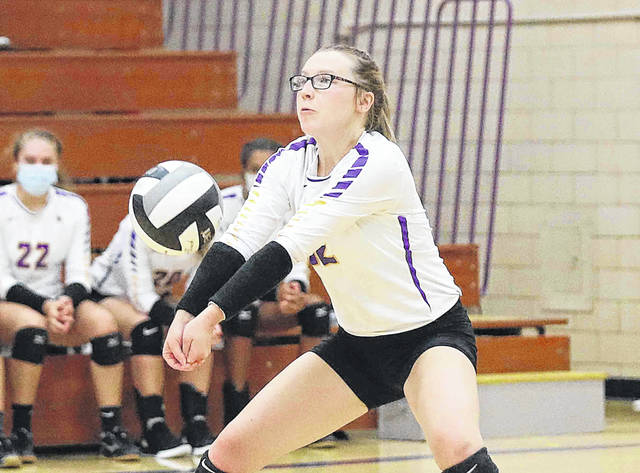 Leispic's Caitlen Flick plays a serve during Tuesday night's home match against Columbus Grove. Head to LimaScores.com to see more match photos.