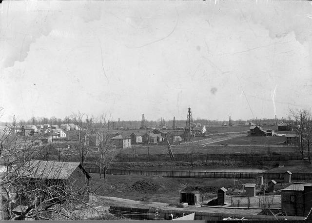 Lima, photographed in 1895, had oil derricks dotting the landscape.