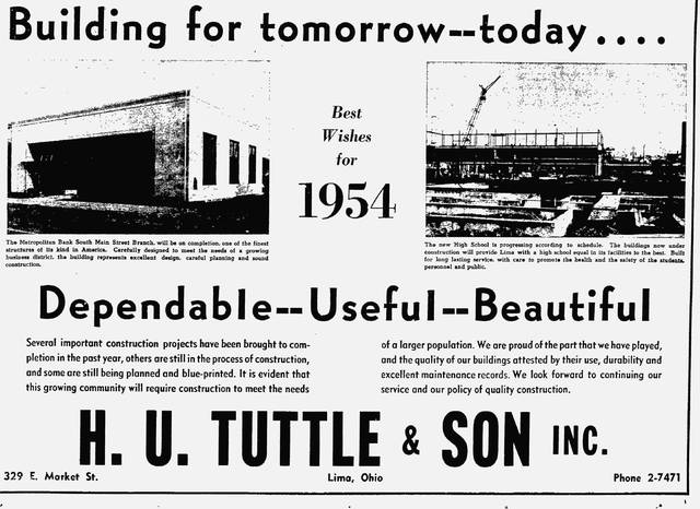 This ad from 1953 promotes H.U. Tuttle & Son Inc.'s projects that were coming in 1954.