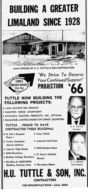 This ad from 1966 promotes the Tuttle contracting services and lists its projects, from the Carlton House apartment building to the American Red Cross.