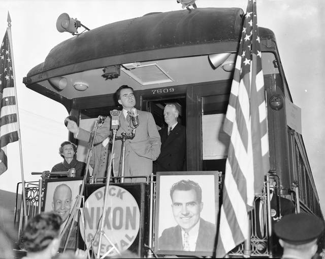Then-Vice President Richard Nixon gives a whistle-stop speech for Dwight D. Eisenhower on Oct. 8, 1952.