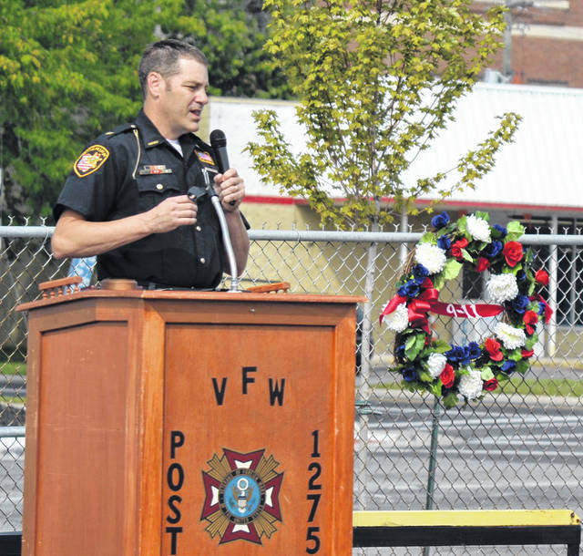 Allen County Sheriff Matt Treglia speaks at Saturday's ceremony honoring the patriots that responded to the 9/11 attacks on America.
