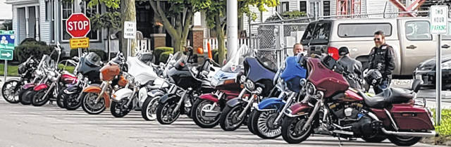 Bikers Against Child Abuse parked 12 motorcycles across the street from the Putnam County Courthouse for the sentencing Daniel Salazar in Ottawa on Monday.