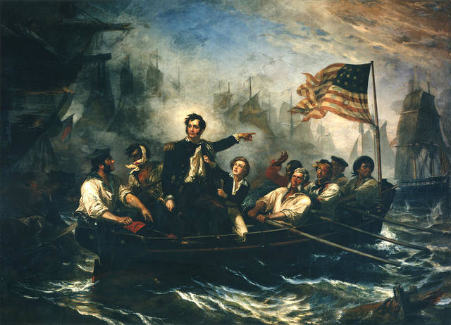 Depicted: The Battle of Lake Erie by William Henry Powell in 1865