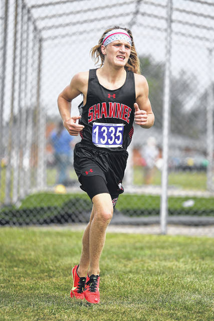 Shawnee's Isaiah Johns won the Black Division race for larger schools at Saturday's Spencerville Bearcat Invitational. See more invitational photos at LimaScores.com.