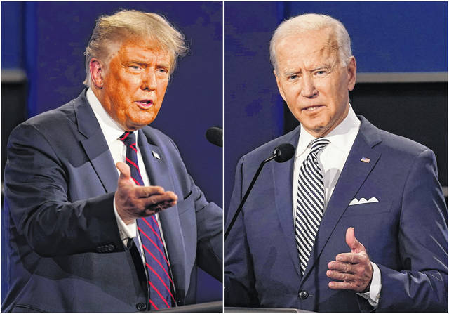 A staggering 97 percent of the jokes Stephen Colbert and Jimmy Fallon told about the candidates in September targeted President Donald Trump, left, a study released Monday found. That's 455 jokes about Trump and 14 about Democrat Joe Biden, right, according to the Center for Media and Public Affairs at George Mason University.