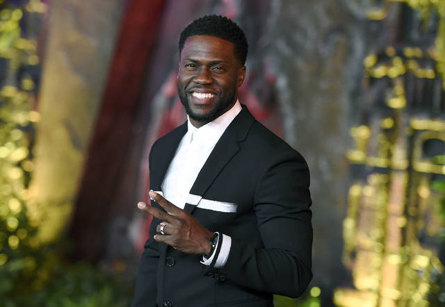 "FILE - In this Dec. 11, 2017 file photo, Kevin Hart arrives at the Los Angeles premiere of ""Jumanji: Welcome to the Jungle"" in Los Angeles. Hart is hosting a re-imagined online fundraiser for the Muscular Dystrophy Association. The two-hour event will benefit the Muscular Dystrophy Association and Hart's Help From the Hart charity. It'll be streamed on LOL Network platforms including YouTube and PlutoTV on Saturday, Oct. 24.  (Photo by Jordan Strauss/Invision/AP, File)"
