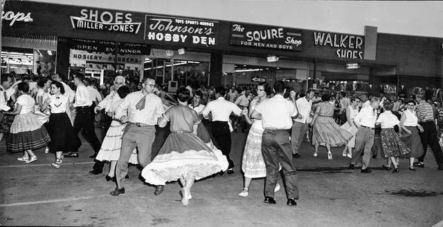 Residents participate in a free dance sponsored by the Lima Westgate Merchants' Association in 1958 at the Westgate parking lot.