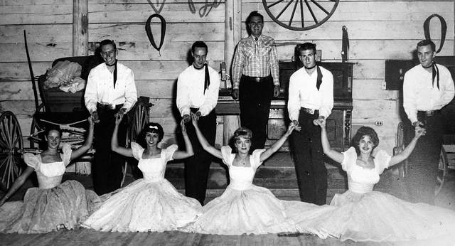 This photo from 1962 shows Limaite Ruth Newell (with bow), who was a dancer in the Central City, Colorado, Opera Association dance troupe.