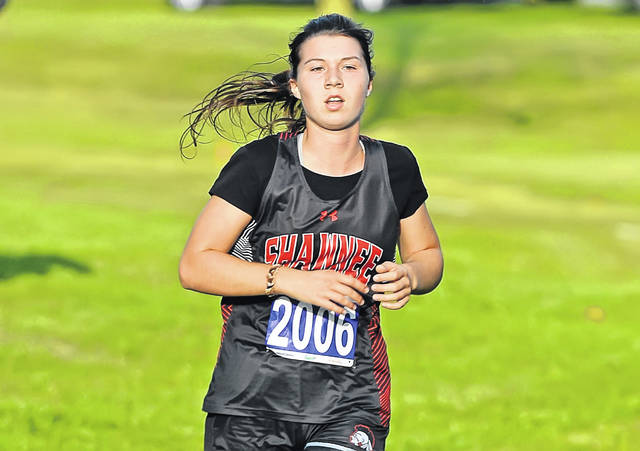Shawnee's Molly Stump won the girls high school race during Tuesday's Allen County Invitational in Faurot Park. See more invitational photos at LimaScores.com.