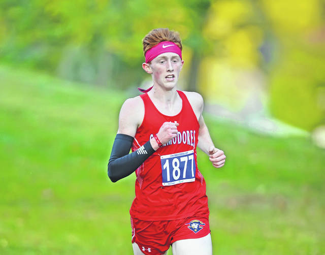 Perry's Brady Yingst won the boys high school race during Tuesday's Allen County Invitational in Faurot Park.