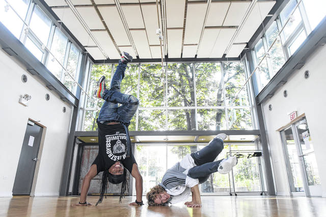 "Dance instructors Daniel ""Bravemonk"" Haywood and Kelsa ""K-Soul"" Robinson work out Sept. 22 at the Dorchester Art + Housing Collaborative."