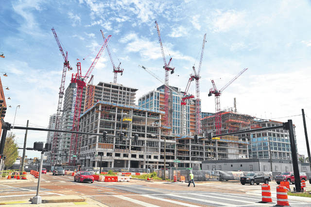 Construction continues on the Water Street Tampa development earlier this month in downtown Tampa, Florida.