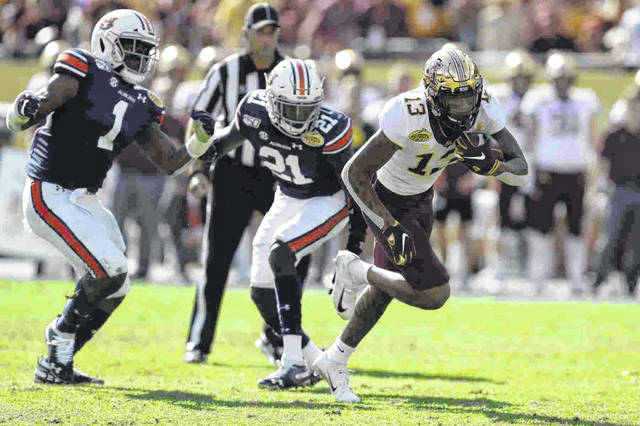 Minnesota wide receiver Rashod Bateman, shown here against Auburn in the Outback Bowl, is expected to be a first-round NFL draft choice.