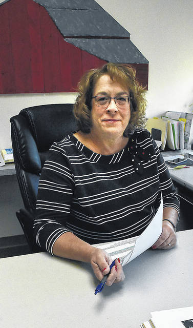 Beth Seibert in her office at Allen County Commissioner office. Craig J. Orosz | The Lima News