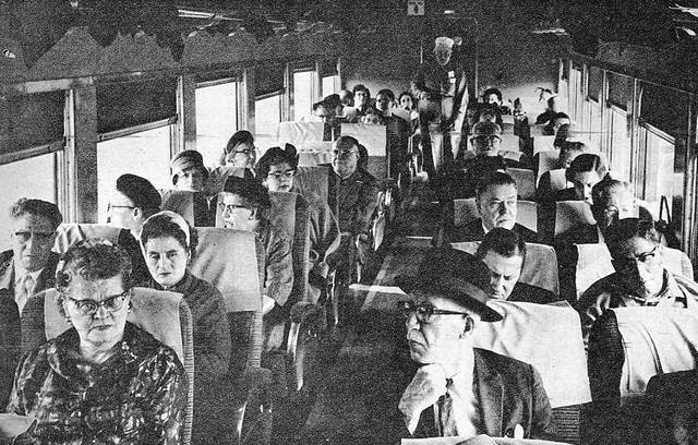 Mystery trip participants settle into one of the coaches in 1962. The trip was a draw for railfans, as it was headed from northeast Ohio to Lima to see Baldwin-Lima-Hamilton, the Allen County Museum and more.