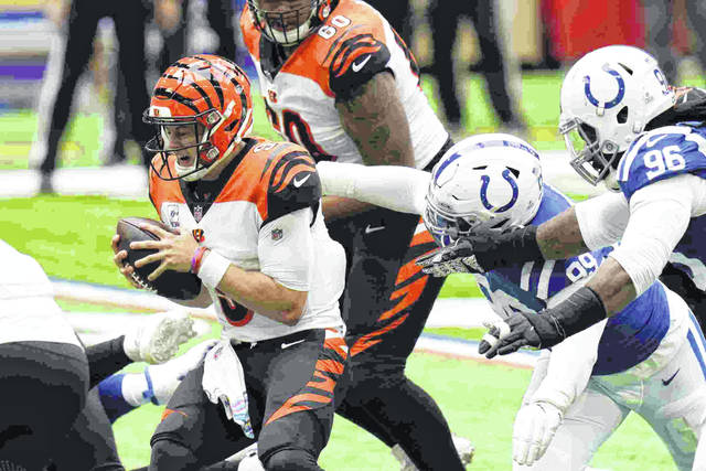 Cincinnati Bengals quarterback Joe Burrow (9) is sacked by the Indianapolis Colts' DeForest Buckner (99) during the Colts 31-27 win over the Bengals on Sunday in Indianapolis.