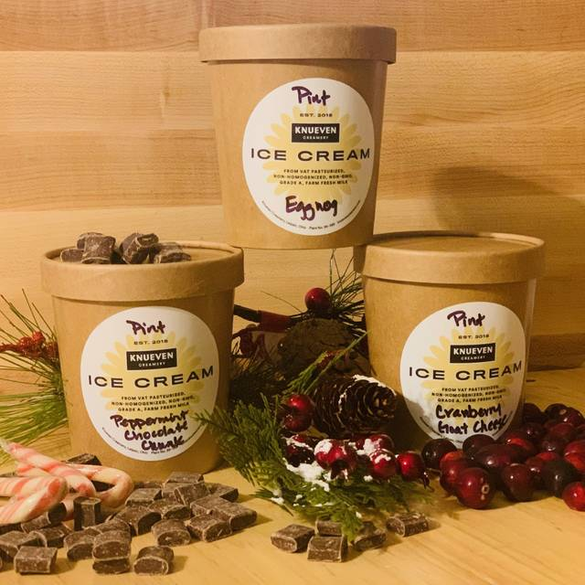 Knueven Creamery in Leipsic produces holiday ice creams such as eggnog, peppermint chocolate chunk and cranberry goat cheese.