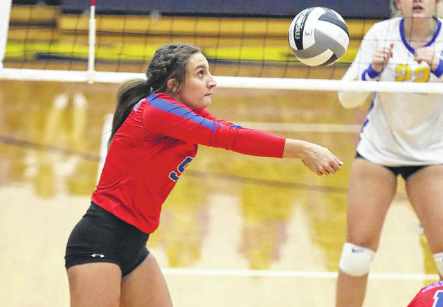 Crestview's Raegan Hammons keeps the ball in play during Thursday night's Northwest Conference match at Lincolnview. See more match photos at LimaScores.com.
