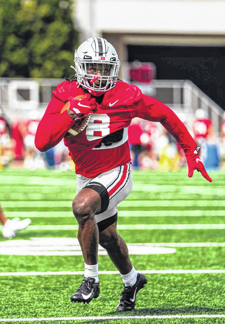 Oklahoma transfer Trey Sermon, shown during a recent practice, is expected to be a big part of Ohio State's running game this season.