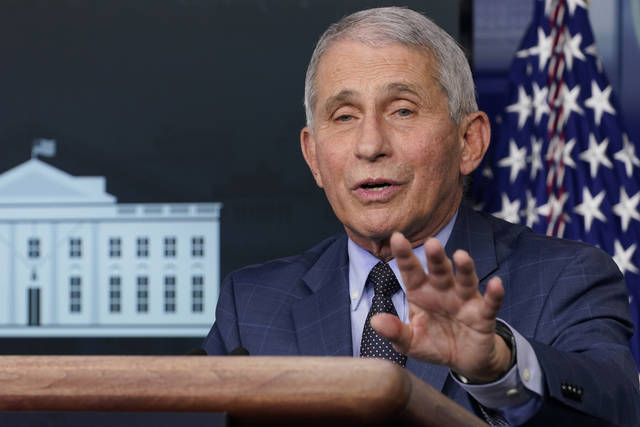 Dr. Anthony Fauci, director of the National Institute for Allergy and Infectious Diseases, speaks during a Nov. 19 news conference. On TV news shows Sundays, Fauci warned of future surges and doubted that social distancing recommendations would ease by Christmas.