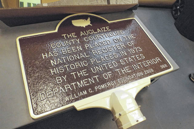 A historical marker commemorates the Auglaize County Courthouse's inclusion into the National Register of Historic Places.