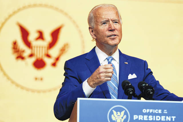 """Speaking at The Queen theater Wednesday in Wilmington, Del., President-elect Joe Biden said, """"In America, we have full and fair and free elections, and then we honor the results. The people of this nation and the laws of the land won't stand for anything else."""""""