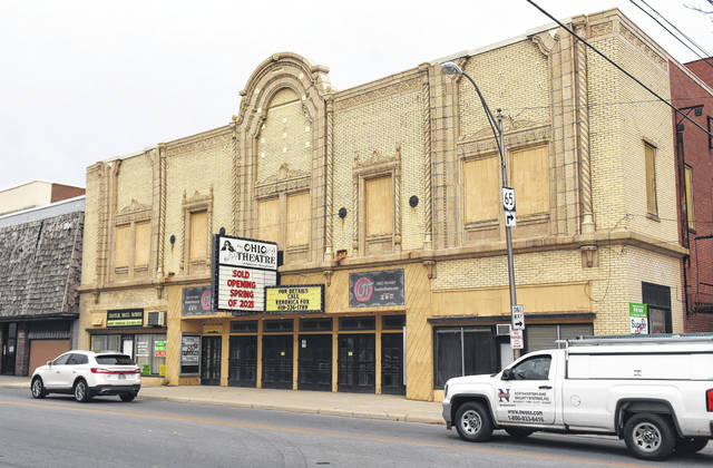 Ohio Theatre's marquee announces that its been sold.
