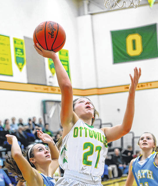 Ottoville's Nicole Knippen (21) was selected as the Putnam County League's player of the year as a junior.