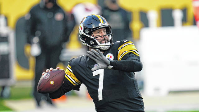Pittsburgh Steelers quarterback Ben Roethlisberger (7) throws a pass during the first half of an NFL football game against the Cincinnati Bengals, Sunday, Nov. 15, 2020, in Pittsburgh. The Steelers won 36-10. (AP Photo/Keith Srakocic)