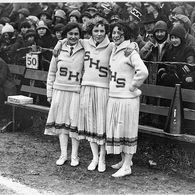 1924 cheerleaders for South: Helen Morey, Kathryn Gilmore, and Donna Hall.