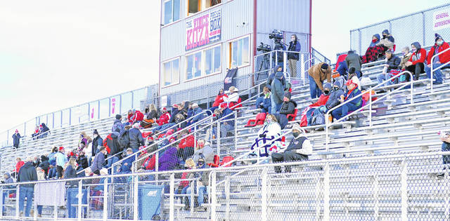 Fans were forced to sit apart with social distancing during a recent Division VII regional semifinal tournament game for Lima Central Catholic at Spartan Stadium. Area schools had to deal with limited ticket sales because of limitations associated with the COVID-19 pandemic.