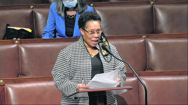 In this image from video, Rep. Marcia Fudge, D-Ohio, speaks on the floor of the House of Representatives at the U.S. Capitol in Washington, Thursday, April 23, 2020. Two Democratic women are contenders to be President-elect Joe Biden's secretary of agriculture. Rep. Marcia Fudge of Ohio and former Sen. Heidi Heitkamp of North Dakota are in the running for the Cabinet position.
