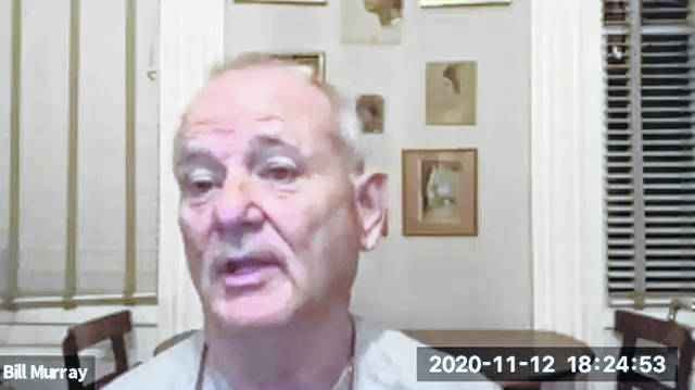 """In this November 12, 2020 image taken from video, actor Bill Murray takes part in a virtual production of """"Poetry for the Pandemic."""" Murray is set to play Job in a biblical reading designed to spark meaningful conversations across spiritual and political divides."""