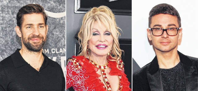 Celebrities including, from left, John Krasinski, Dolly Parton and Christian Siriano took the initiative to make the best out of a challenging year.