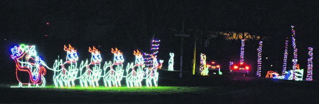 Visitors may drive through the Allen County Fairgrounds and take in the holiday light display and listen to music provided by the Lima Symphony Orchestra.