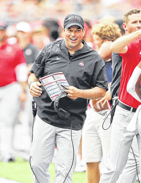 Ohio head coach Ryan Day is all smiles as the buckeyes score a first quarter touchdown  at Ohio Stadium on the campus of The Ohio State University on August 31th,2019 Photos By Don Speck