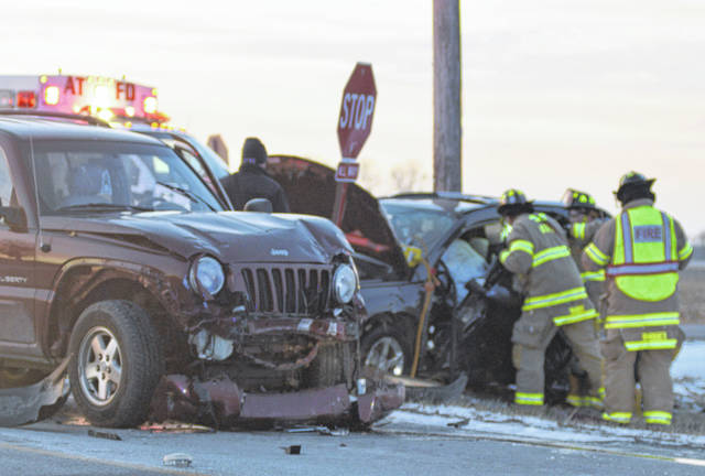 Two people were hurt in a crash at Diller and Cable Roads on Saturday. One of those hurt had to be extricated from the vehicle by American Township firefighters.